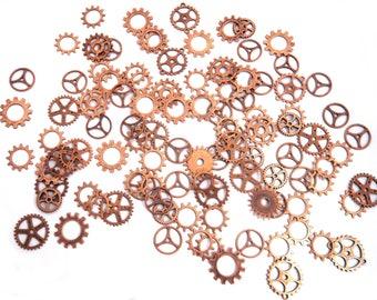 100 Gears cogs steampunk copper lot watch gears mechanism