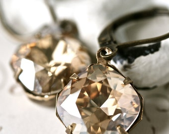 Champagne Swarovski Crystal Earrings, Champagne Earrings, Cushion Cut Earrings
