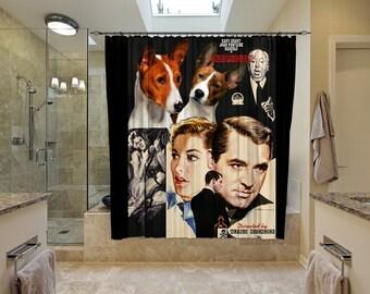 Basenji Art Shower Curtain, Dog Shower Curtains, Bathroom Decor - Suspicion Movie Poster  Perfect CHRISTMAS Gift SALE 25 off Free Shipping