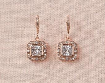 Rose Gold Cushion Cut Earrings, Crystal Wedding Earrings, Bridal Bracelet, Art Deco Bridal Jewelry, Bridal Jewelry SET, Gold, Jaime Earrings