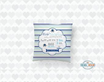 Boys Birth Announcement Pillow - Birth Stats Pillow - Personalized Birth Stat Pillow - Elephant Birth Stats Pillow - Newborn Baby Boy Gift