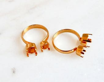 Gold knuckle ring settings fits 24ss, and 29ss chatons - toe ring - pinky ring - ring setting - gold ring setting - prong setting