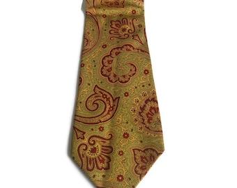 Vintage Italian Silk tie by Grigio Perla Paisley Cravat Tie Yellow Green Red silk neck tie Men's accessories  paisley tie Gift for him