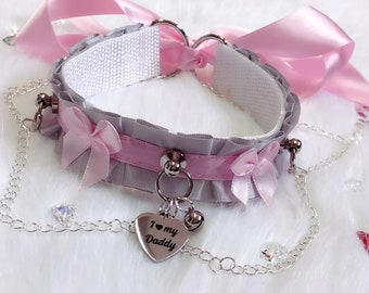 MADE TO ORDER- Light Silver and Pink Luxury Chain Bows Collar