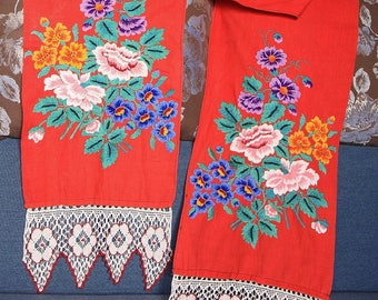 GREAT UNIQUE Old Ukrainian Embroidered Rushnik of Red Color Museum Quality Vintage 1960s Towel Rushnik Needelpoint Tapestry Stitch XXL