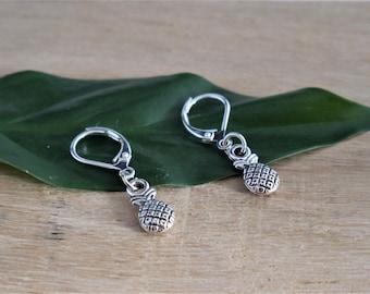 boho style earrings , pineapple earrings, silver earrings boho lover gift