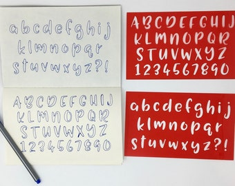 2 Bullet Journal Stencils - Alphabet. Handwriting. Uppercase. Lowercase. Numbers. Punctuation. Planner.