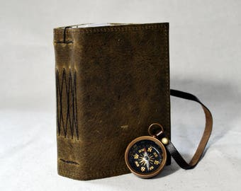 Small Rustic Moss Leather Diary with Compass