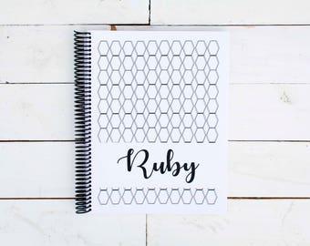 MODERN Hexagon BABY BOOK, Baby Memory Book, Baby Shower Gift, Baby Gift, Baby Shower, Baby Album, Keepsake Baby Book