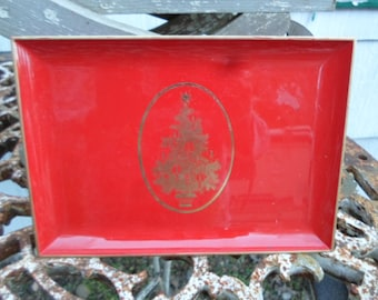 Holiday otagiri tray etsy vintage red and gold christmas tree otagiri japan plastic tray small gibson greeting cards inc m4hsunfo Choice Image