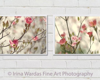 Nursery wall decor, dogwood flowers, floral photography, girls room wall art set of 2 prints 12x12, 11x14 coral pink pale yellow olive green
