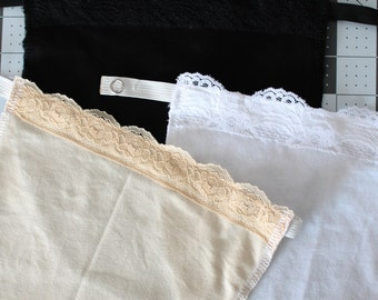 Set of Three Modest Shirt Inserts, Cleavage Covers, Clip On Cami