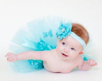 Newborn Baby Girl Photo Prop Sewn Aqua Teal Blue Embellished Tutu with bow & aqua flower hair clip and interchangeable headband NB-12m