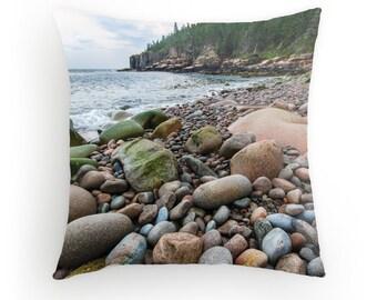 Boulder Beach Throw Pillow Acadia National Park Bar Harbor Maine