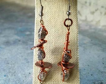 Silver with a bit of Copper... Asymmetric Wire Wrapped Beads by 7beadsstudio