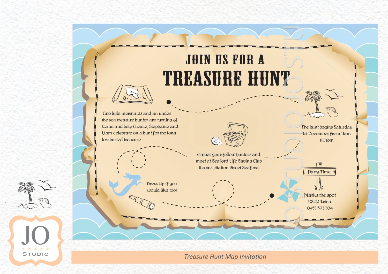 Treasure Hunt / Scavenger Hunt Themed Treasure Map Invitation