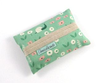 Kleenex Tissue Case, Green Pocket Tissue Cover, Floral Travel Tissue Case, Tissue Holder for Women, Handmade Tissue Pouch, Sister Gif