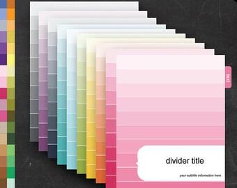 Filofax Binder Dividers - Printable Editable Rainbow Ombre Theme Personal Filofax - Home Organize Business Organization Classroom Homeschool