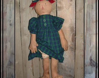 SALE mailed paper pattern Primitive folk art soft sculpted folk art raggedy Annie doll bare feet fingers HAFAIR OFG faap cloth doll 427
