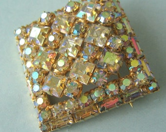 Weiss clear AB square brooch