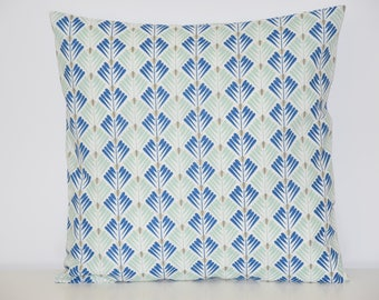 Pillow cover - 40 x 40 cm - geometric fabric mint/gray/blue - Scandinavian trend
