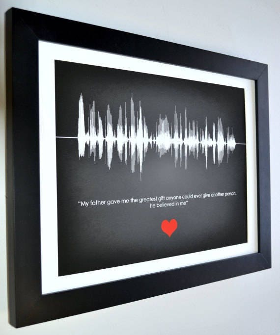 This is wild. It's a personalized printed message to dad--of your voice waves! This is so cool. I bet it gets those eyes leaking...