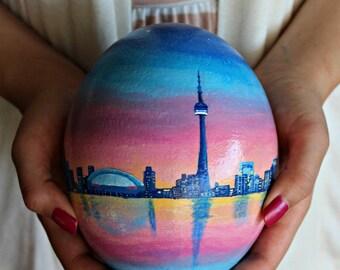 Custom Hand Painted Toronto Skyline Ostrich Egg