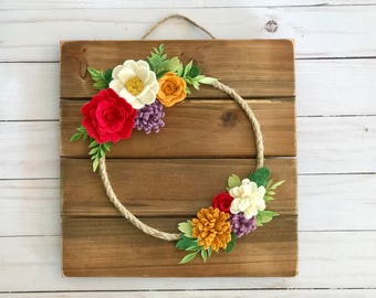 Felt Wreath, Fall Decor, felt flowers, felt flower wall decor, holiday gift, thanksgiving, wedding, bedroom decor