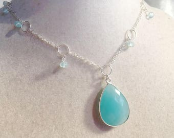 Aqua Necklace - Chalcedony Gemstone Jewelry - Sterling Silver Jewellery - Pendant - Fashion - Chain