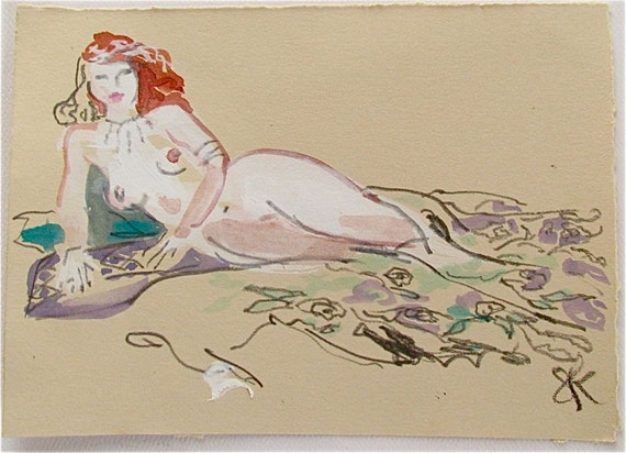 MINI NUDE 27- original watercolor painting by Gretchen Kelly