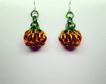 Pumpkin Chainmaille Earrings