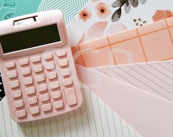 Designer File Folders and Pink Calculator Stock Photography, Stock Photos Digital Download, Digital Paper, Scrapbook Journal Paper, Wall Art