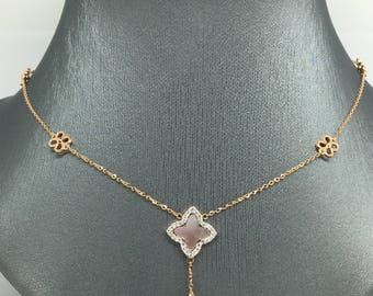 14K Rose Gold Natural Genuine Diamond and Mother of Pearl Flower Charm Necklace