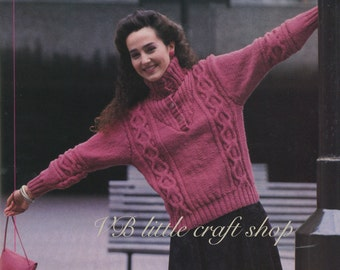 Lady's sweater knitting pattern. Instant PDF download!