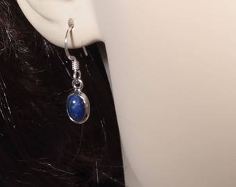Lapis lazuli earrings,small,92.5 sterling silver