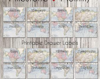 Drawer Labels, Dresser Labels, Clothing Organizer, Closet Divider, Clothing Baby, Nursery Organization, Nursery Decor, DIGITAL DOWNLOAD