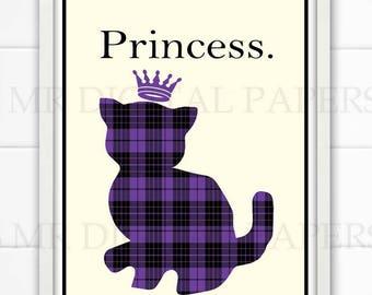 Cat Print / Kids Room Art / Kitty Print/ Cat Printable / Cat Download / Princess Wall Art / Cat Lover Poster / Cat Person Art / Cat Gift