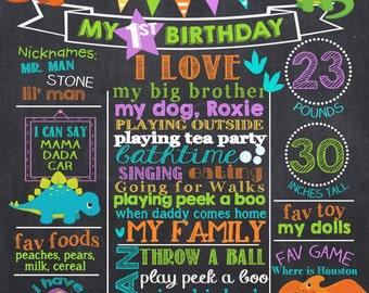 Dinosaur First Birthday Chalkboard Poster - Dino Birthday Chalk Board Sign - Printable Photo Prop