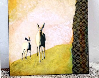 "Nature Art--Wood Mounted Archival Print of Original Mixed Media Art with Hand-Painted Details and Finish--""Deer Pair""--Pam Kapchinske"