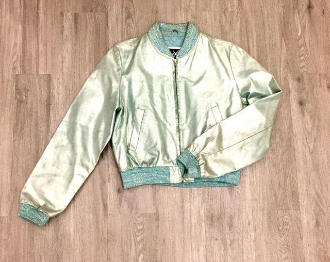 90s Shiny Leather Bomber Jacket