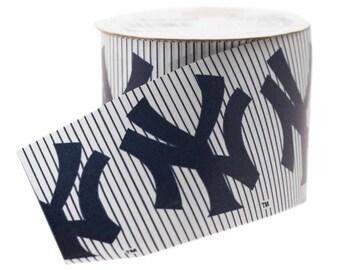 Offray MLB New York Yankees Fabric Ribbon, 2-1/2-Inch by 9-Feet, White/Blue / Baseball Ribbon NYY