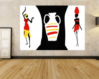 African Abstract Acrylic Painting, Black white Red Yellow Abstract Paintings Large XL Wall Art Painting, Modern Fine Art Decor Handpainted