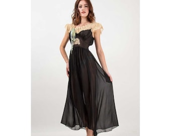 1940s Lingerie / Vintage black silk and lace negligee / Sheer long nightgown S