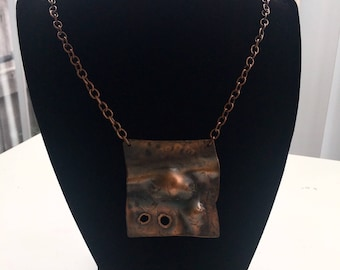 Copper necklace-from art jewelry copper necklace hand made artistic hammered copper necklace