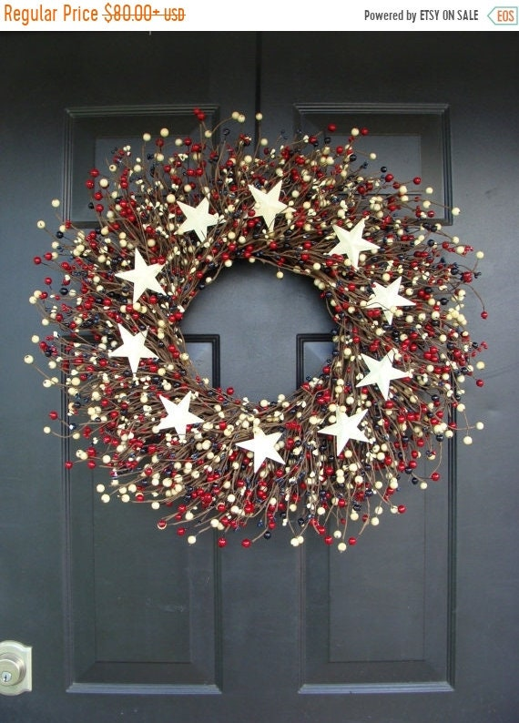 SUMMER WREATH SALE Fourth of July Wreath- July 4th Wreath- Patriotic Wreath- Fourth of July Decor
