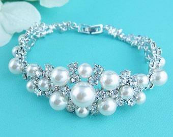 Bridal bracelet, ivory wedding bracelet, rhinestone pearl bracelet, crystal ivory white pearl bracelet, bridal jewelry, Dylan Pearl Bracelet