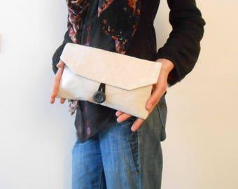 Off white pouch. Hand bag. Treasures Kit. Unique piece
