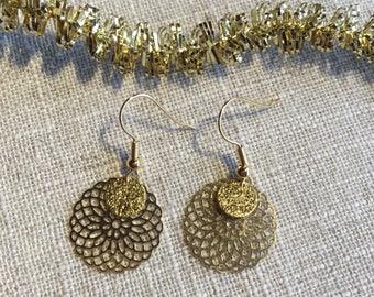 Earrings print rose gold plated setting