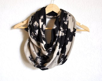 Hand Dyed Scarf - Graphic Black and Grey Striated Pattern on Jersey Cotton