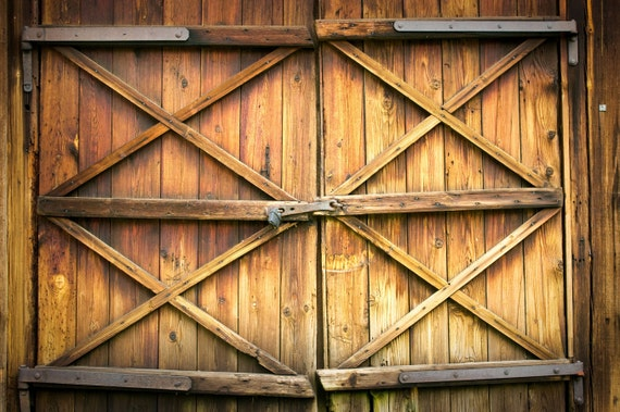 Orange Barn Door Backdrop Grunge Old Wood Door Printed Fabric